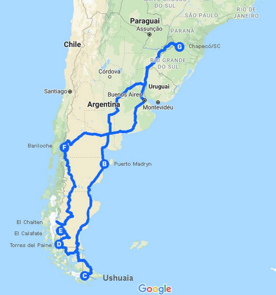 roteiro viagem de moto ushuaia